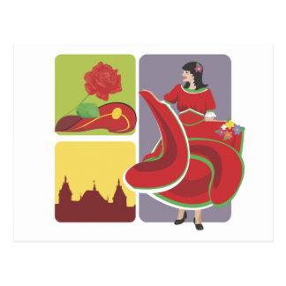 Flamenco espanhol cartoes postais
