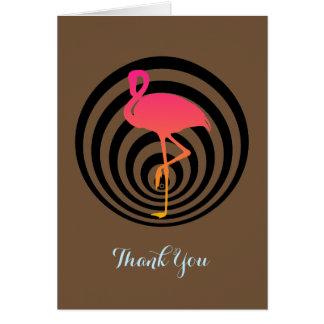 Flamingo bonito em cartões de agradecimentos dos