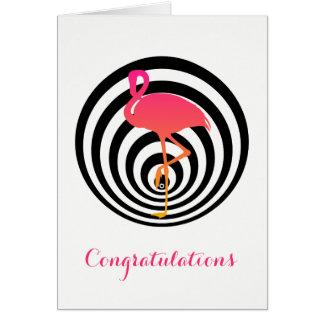 Flamingo bonito no cartão dos círculos