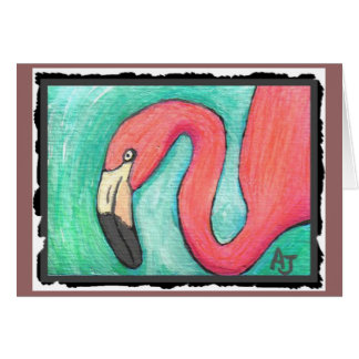 Flamingo cor-de-rosa - cartão artística