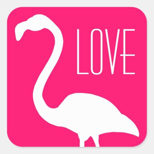 Flamingo cor-de-rosa do amor e branco brilhante adesivo quadrado