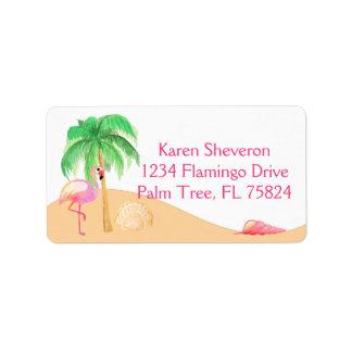 Flamingo cor-de-rosa em etiquetas de endereço da