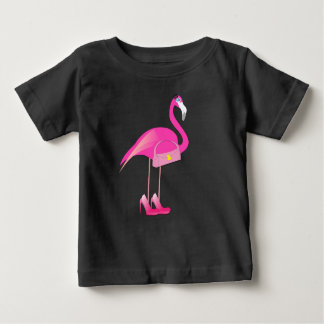 Flamingo cor-de-rosa -  fino do t-shirt do jérsei camiseta para bebê
