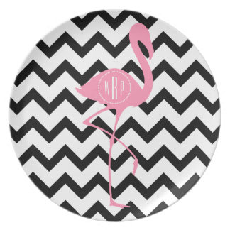 Flamingo cor-de-rosa Monogrammed + Chevron preto Pratos