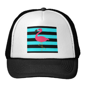 Flamingo cor-de-rosa na cerceta e no preto boné