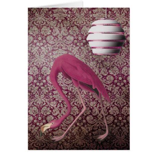 Flamingo cor-de-rosa no papel de parede do vintage cartões