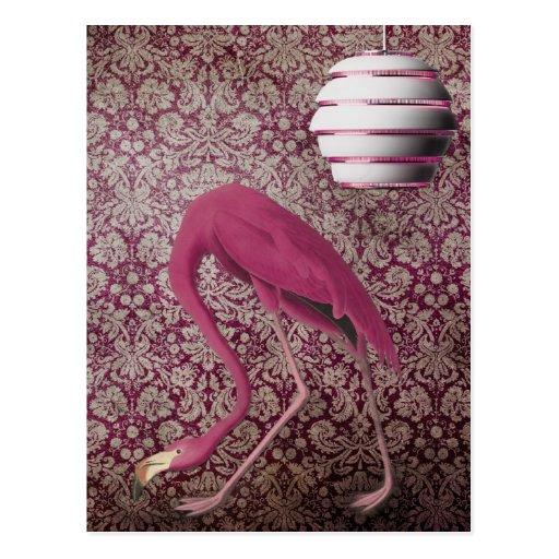 Flamingo cor-de-rosa no papel de parede do vintage cartão postal