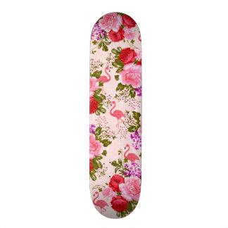Flamingo floral cor-de-rosa chique da aguarela do shape de skate 20,6cm