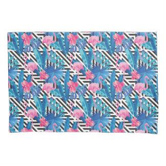 Flamingo & palmas no teste padrão geométrico