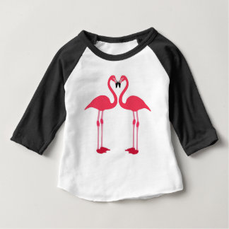 flamingo-pássaro-amor camiseta para bebê
