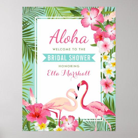 Flamingo tropical do sinal de boas-vindas   do chá pôster