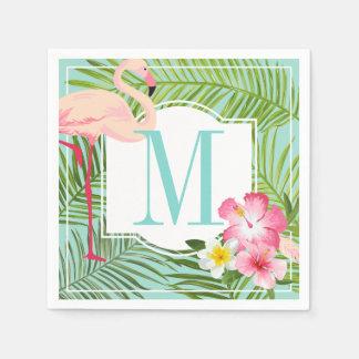 Flamingo tropical dos guardanapo | do monograma