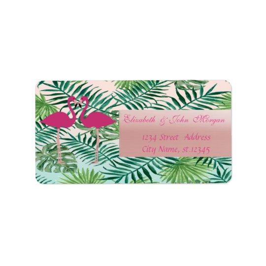 Flamingos cor-de-rosa adoráveis, etiqueta de