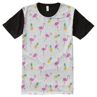 Flamingos de néon 2 camisetas com impressão frontal completa