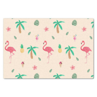 Flamingos no verão papel de seda