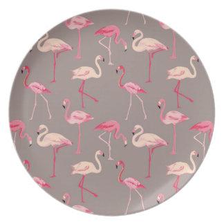 Flamingos retros prato
