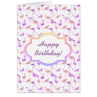 Flamingos roxos, cartão