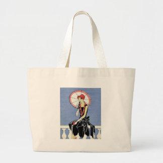 Flapper do 1920 com guarda-chuva bolsas para compras