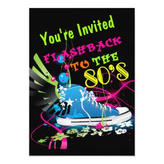 Flashback à sapatilha do néon do anos 80 convite 12.7 x 17.78cm
