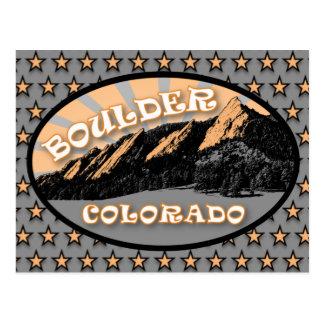 Flatirons, parque de Chautauqua, Boulder Colorado Cartão Postal