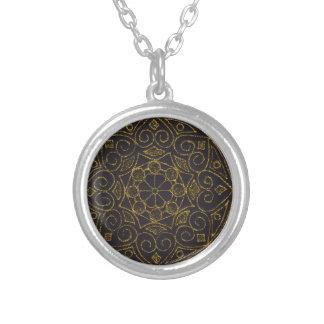 Fler do indiano da mandala do ouro colar com pendente redondo