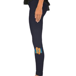 Flip-flops alaranjados das bolinhas calça leggings