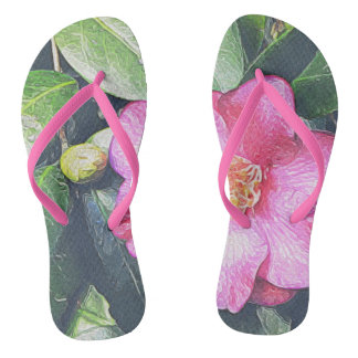 Flip-flops cor-de-rosa da camélia chinelos