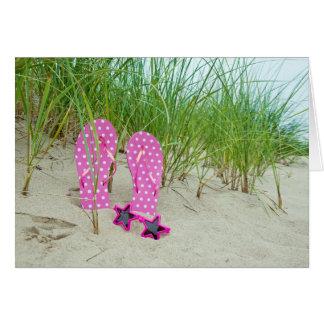 Flip-flops cor-de-rosa das bolinhas cartão de nota
