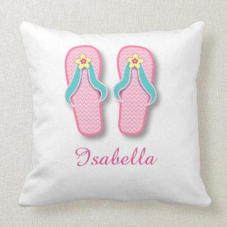 Flip-flops cor-de-rosa do verão travesseiro