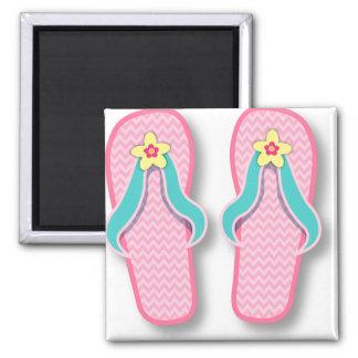 Flip-flops cor-de-rosa do verão ímã quadrado