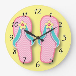 Flip-flops cor-de-rosa do verão relógio de parede