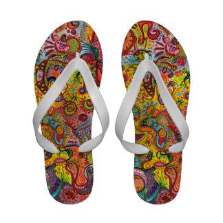 Flip-flops psicadélicos coloridos - abstrato!