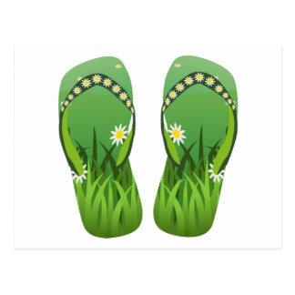 Flip-flops verdes/tangas cartão postal