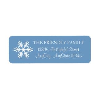 Floco de neve, azul e branco, elegante etiqueta endereço de retorno