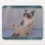 Floco de neve azul Mousepad do gato mal-humorado
