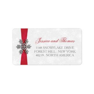 Floco de neve de Diamante & casamento no inverno Etiqueta De Endereço
