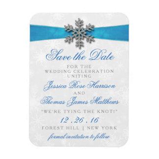 Floco de neve de Diamante & casamento no inverno Foto Com Ímã Retangular