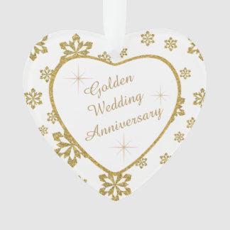 Floco de neve do aniversário de casamento dourado ornamento