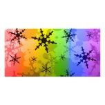 Floco de neve do arco-íris cartão com fotos personalizado