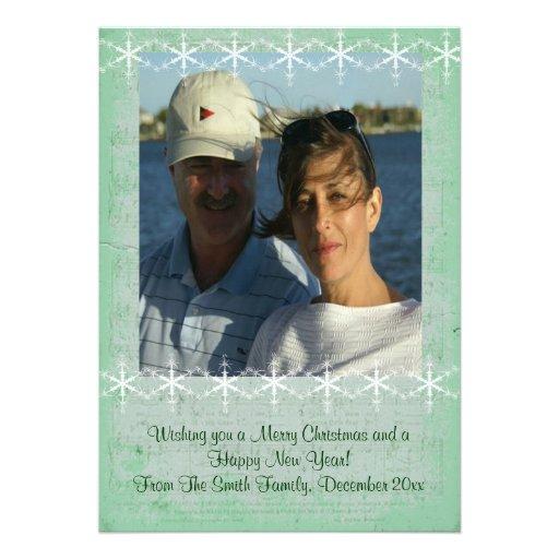 Floco de neve do Natal e cartão com fotos da músic Convite Personalizado