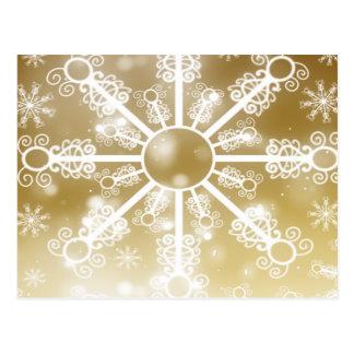 Floco de neve do ouro cartão postal