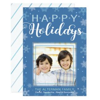 Floco de neve e cartão com fotos azuis das