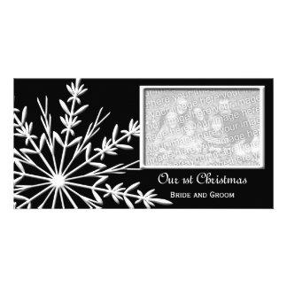 Floco de neve em primeiros cartões de foto de