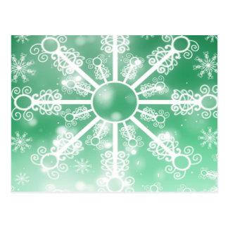 Floco de neve verde cartão postal