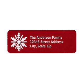 Floco de neve vermelho & branco - etiqueta de