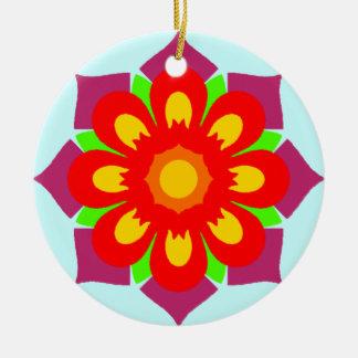 Floco psicadélico da neve ornamento de cerâmica redondo