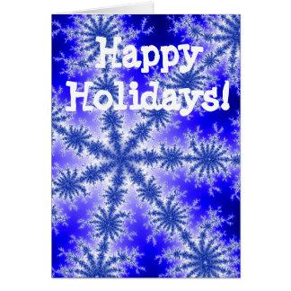 Flocos de neve azuis boas festas cartão comemorativo