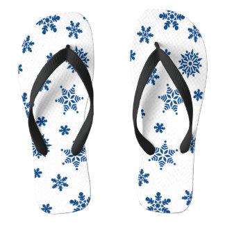 Flocos de neve azuis chinelos