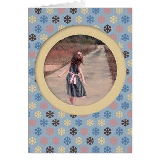 Flocos de neve azuis e bege cartão de nota