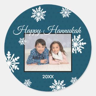 Flocos de neve azuis Hanukkah feliz - etiqueta do
